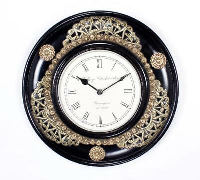"""Antique Vintage Hand Made Ethnic Wooden Brass & Black Finish 12"""" Wall Clock-010"""
