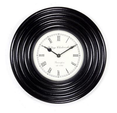 """Antique Vintage Hand Made Ethnic Wooden Black Finish 12"""" Wall Clock-025"""