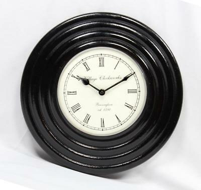 """Antique Vintage Hand Made Ethnic Wooden Black Finish 12"""" Wall Clock-015"""