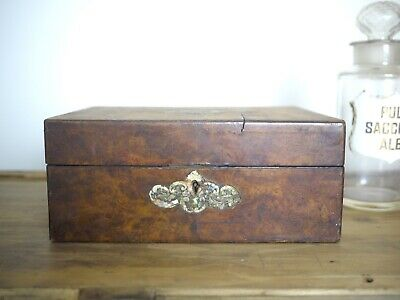 Antique Jewellery Box Storage Wood Display Decorative Shabby Chic Walnut Burr