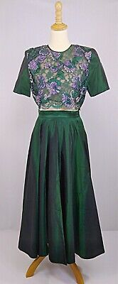 Vintage style Emerald Green- Laced bodice- Skirt And Top Outfit-Size 6-8