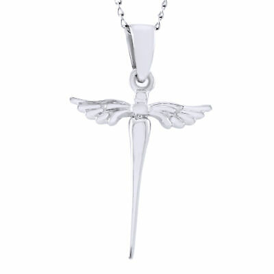 """Valentine's Day Angel Wing Christ Cross Pendant Chain 18"""" Necklace 925 Silver"""