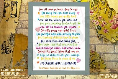 A Mothers Thank You Poem Nursery Teacher Picture Print Gift Leaving Present