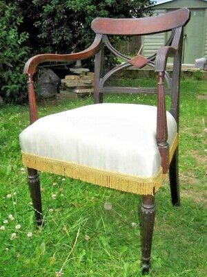 Beautiful Regency/Georgian office chair with quality silk upholstery