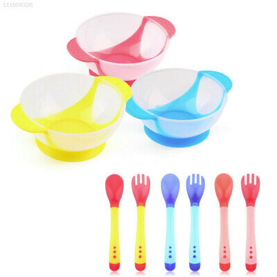 6C83 2Pcs Baby Slip-Resistant Feeding Bowl With Temperature Sensing Spoon Set