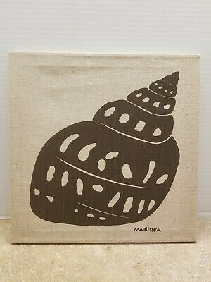 Vintage MARUSHKA Sea Shell Stretched Fabric Silk Screen Print Framed MCM Pop Art