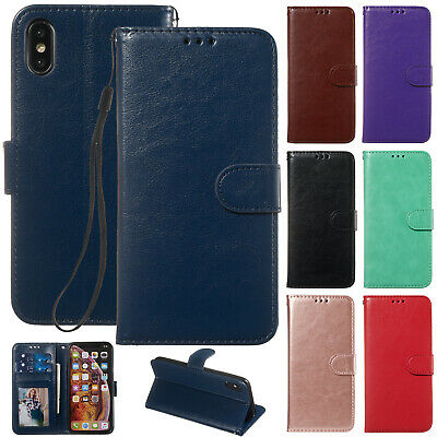 For iPhone 8 Plus Case 7+ 6s XR XS Max Retro Magnetic Leather Wallet Stand Cover