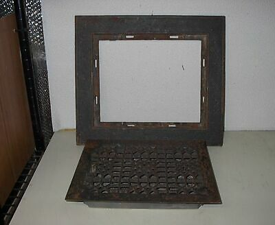 Antique Cast Iron Louvered Floor Heat Vent Register With Original Outside Frame