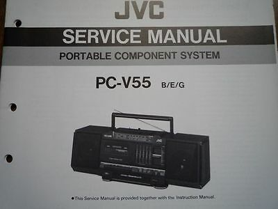 jvc pc-v55 portable component system service manual wiring parts diagram  repair