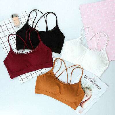 Womens Padded Bra Casual Pure Color Bralette Wire Free Strap Bras Seamless BEB