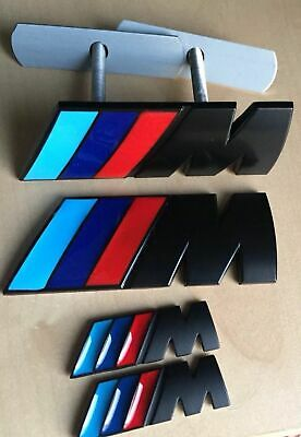 BMW 1x Front Grill 2x Wings + 1x Boot Badge //////M Sport Black M Power Metal Set
