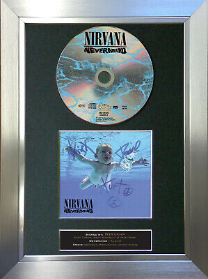NIRVANA Nevermind Album Signed Autograph CD & Cover Mounted Print A4 20