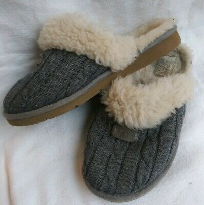 a3d7d7944ef UGG WOMEN'S COZY Cable Knit Sheepskin Fur Slippers Heather Gray 1865 ...