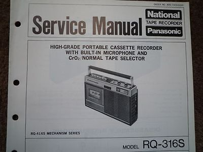 PANASONIC RQ-316S Cassette tape Recorder Service manual wiring parts diagram