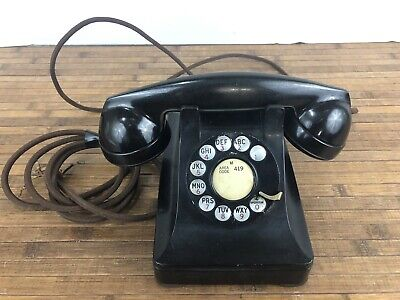 Vintage Bell System Western Electric F1 Heavy Metal Black Rotary Phone Antique