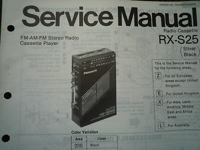PANASONIC RX-S25 Radio Cassette Recorder Service manual wiring parts diagram
