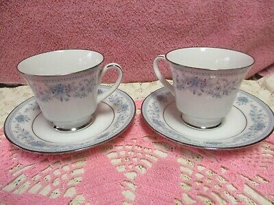 Noritake Blue Hill Cup and Saucer Sets Floral Platinum Unused 2 Sets