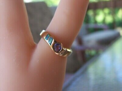 Perfect Ring Tazanite-Diamond & Opal-Very Pretty But Not Over The Top Size 8.75
