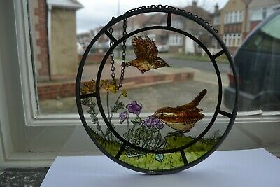 Stained glass painted style 2 birds hanging decorative roundel. R900a