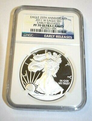 2011 W Silver Eagle 25Th Anniversary Ngc Pf 70 Ultra Cameo Early Releases M577