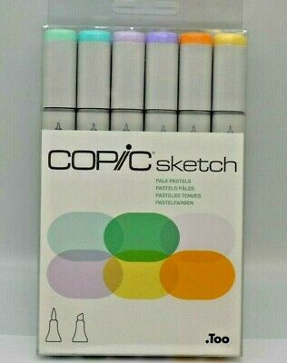 Copic Markers 6-Piece Sketch Set, Pale Pastels. BRAND NEW