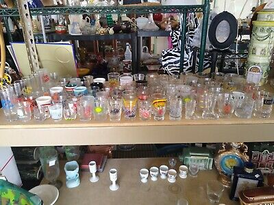 Lot of 100 Shot Glasses Barware US States Vacation Destinations Advertising 2