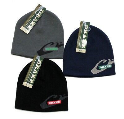 f276cd6aa38e1d DRAKE Waterfowl Systems Stocking Knit Acrylic Solid Cap Beanie Navy Black  Gray