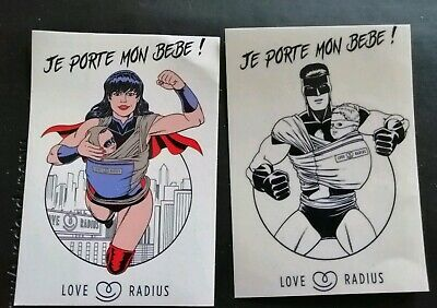 Je Porte Mon Bebe Babywearing Stickers Superwoman Batman NEW Love Radius