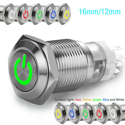Durable ON/OFF  Car LED Power Momentary Switch 16/12mm Push Button LED ON/OF