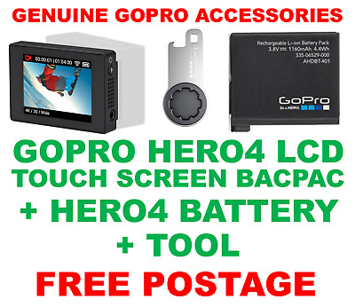 Genuine Official Gopro Hero 4 Lcd Touch Screen Bacpac + Battery + Tool - Hero4