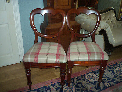 Pair Victorian Mahogany Balloon Backed Chairs