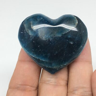 51.1g, 38mm x 43mm x 19mm, Natural Small Blue Apatite Heart Reiki Energy, B1487