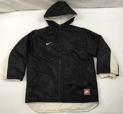 Vintage Nike Swoosh Big Spell Out Hooded Jacket Coat Size Youth M 8-10