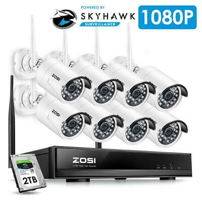8CH CCTV System Wireless 1080P HD NVR 8PCS 2.0MP IR Outdoor Waterproof P2P