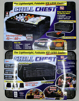 CHILL CHEST Ice-less 2 Cooler Lot Lightweight Collapsible As Seen on TV 60 Cans