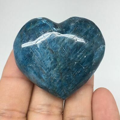 63.2g, 40mmx45mmx20mm, Natural Small Blue Apatite Heart Reiki Energy, B1462