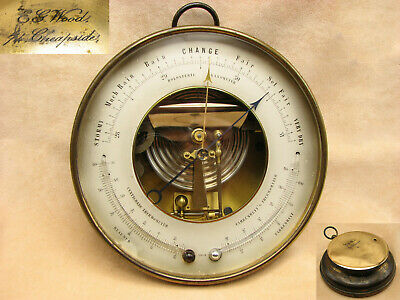 E. G. Wood Holosteric brass cased barometer with twin thermometers - circa 1870.