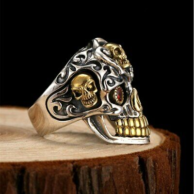 STERLING SILVER 925 SUGAR SKULL resizable men ring handcrafted GIFT IN BOX