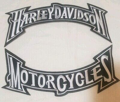 "Harley Davidson Motorcycles Large Black/White Rocker Patch 11"" ""Ships From Usa"