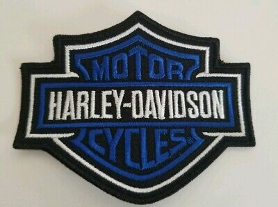 """Harley Davidson Motorcycles Small Patch Bar Shield Blue and Black 3.5""""x2.75"""""""