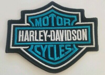 """Harley Davidson Motorcycles Small Patch Bar Shield teal and Black 3.5""""x2.75"""""""