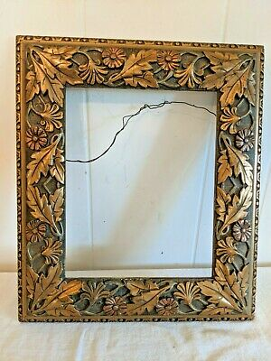 ANTIQUE 19TH C ORNATE FRAME UNIQUE NATURE LEAVES FLOWERS VICTORIAN FOR ART 8x10