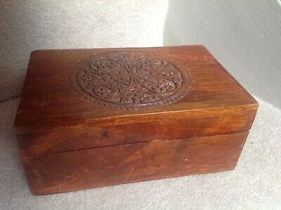 Vintage Carved Hinged Wooden Box With Decorative Carved Detail