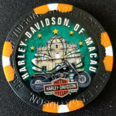 HD OF MACAU CHINA (WIDE PRINT Black/Orange) Harley Poker Chip~Golf Ball Marker
