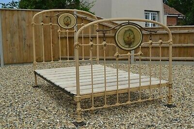 Antique French Cherubs Brass and Iron Small Double Bed Original paint & bed base