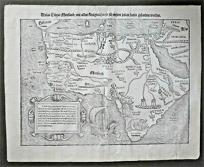 Antique 1550 Africa Map. Original Woodcut Map by Sebastian Munster