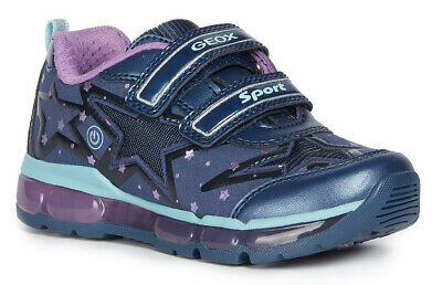 Geox J Android G B Girls Navy/Purple Light Up Trainers - 100% Positive Reviews