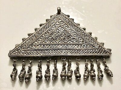 Antique Jewel Ethnic Large Pendant Solid Silver Bell Genuine Northern India