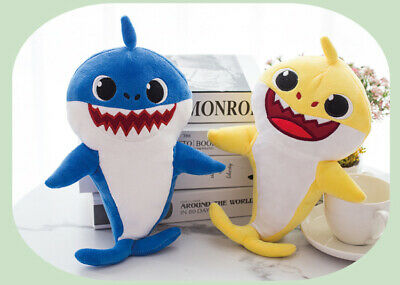 Kids Baby Cartoon Stuffed Shark Singing Doll ♫ doo Music Plush Toy With LED Gift