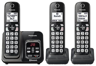 Panasonic KX-TG833SK Bluetooth Cordless Phone with Voice Assist - 3 Handsets